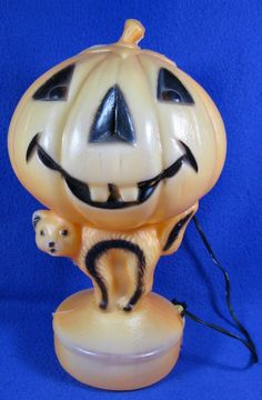 details about vintage black cat pumpkin jack o lantern dancing skeleton blow mold halloween