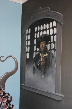 Barbossa Pirates of the Caribbean poolhouse mural