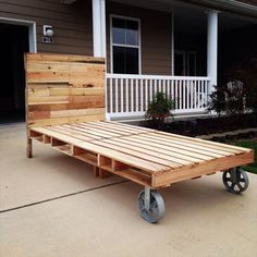 #Pallet #Bed with Cart Wheels - 42 DIY Recycled Pallet Bed Frame Designs | 101 Pallet Ideas - Part 4