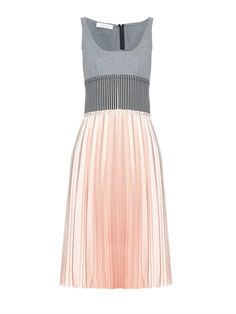 CÉDRIC CHARLIER Panelled jersey and pleated-satin dress