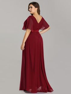 Plus Size Long Empire Waist Evening Dress with Short Flutter Sleeves f8ac6a399318