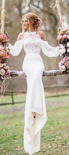 Unique Lace Top Long Sleeves Mermaid Long Wedding Dress OK790 #lace #longsleeves #wedding #white