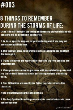 Eight things to remember during the storm's of life