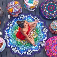 DueWork Large Round Lotus Flower Indian Mandala Ethnic Hippie Beach Towel Yoga Mat Tapestries Blanket Swimwear Cover Up Meditation Corner, Meditation Rooms, Yoga Meditation, Yoga Rooms, Yoga Studio Design, Indian Mandala, Mandala Art, Mandala Towel, Lotus Mandala