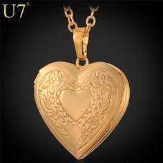 U7 corazón collar y pendiente de las mujeres/de los hombres amantes de la joyería plateado oro al por mayor locket de la foto de fantasía romántica de san valentín de regalo p318