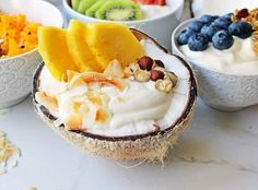 Yogurt Breakfast Bowls with Toppings by Modern Honey. Healthy Greek Yogurt topped with fresh fruits, nuts, and honey. It's a perfect breakfast to start the day! Greek Yogurt Breakfast, Vanilla Greek Yogurt, Breakfast Buffet, Breakfast Bowls, Yogurt Bowl, Dried Cherries, Perfect Breakfast, Toasted Coconut, Snacks