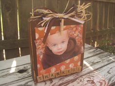 Just in time for the fall! This sturdy wooden photo holder measures 8 inches tall by 7 inches wide. The wood is also 1 1/2 inches thick,
