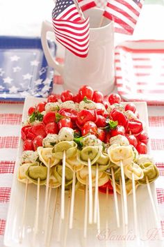 Best 4th of July Recipes and Backyard BBQ ideas - Pasta Salad Kebabs at http://diyjoy.com/best-4th-of-july-recipes-ideas