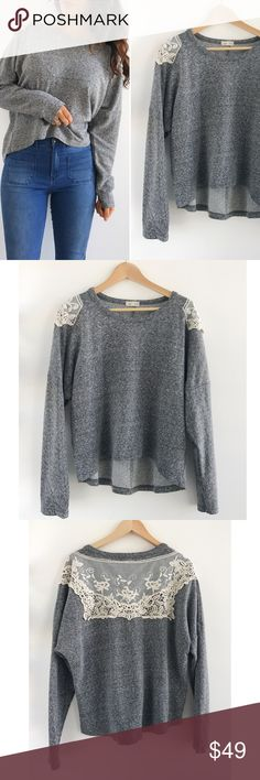 "Gray Comfy Pullover Sweater Anthropology Lili's Closet Gray Comfy Pullover Sweater! Perfect for an effortless comfy look. Excellent condition. Super comfortable. Lace Crochet back. Cotton Polyester blend. Chest-50"" Sleeves-22"" front length-22"" Back length-26"" Size medium Anthropologie Sweaters Crew & Scoop Necks"