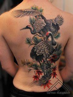 Colorful Fall Tattoos Harmonious back tattoo with beautiful cranes, also by Maris Pavlo.Harmonious back tattoo with beautiful cranes, also by Maris Pavlo. Tattoo Girls, Girl Back Tattoos, Back Tattoo Women, Tattoos For Women, Hanya Tattoo, 1 Tattoo, Body Art Tattoos, Sleeve Tattoos, Japanese Tattoo Symbols