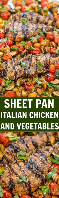 Sheet Pan Italian Chicken and Vegetables - Fast, EASY, one pan recipe that's full of FLAVOR from balsamic, Italian seasoning, Parmesan cheese, and basil!! The chicken is so tender, juicy, and moist!!