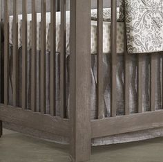 Gray Linen Crib Skirt - Liz and Roo | Liz and Roo Fine Baby Bedding