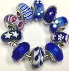10 Authentic Pandora 925 ale silver beads charm glass dark blue