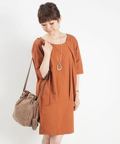 nano・universe  Ladys(ナノユニバースレディース)の裾切替タックワンピース H/S(ワンピース・ドレス) オレンジ系その他