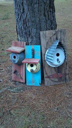 Hang these in the shade! They might get hot in summer and you don't want fried eggs or little birds in your birdhouse. Girls Gone Junkin repurposed birdhouses Garden Crafts, Garden Projects, Projects To Try, Bird House Feeder, Bird Feeders, Bird House Kits, Bird Aviary, Bird Houses Diy, Outdoor Crafts