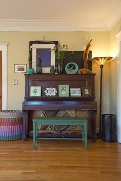 Wood piano with painted bench. How about a very dark peacock blue/green with charcoal grey wash?