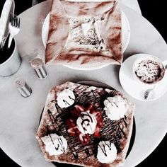 ☾ Amäłi Hiłtøn ☾ --- coffee, cake, cupcakes, doughnuts, ice cream, icing, baking, cute, aesthetic, food, sweet, treats, pink, white, brown.