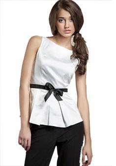 Clara Black & White Satin Top, Sleeveless blouse with contrast belt