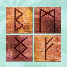ANCIENT RUNES Collage Sheet  - no. 0042, $3.99 :: Printable collage sheet of the Norse runic alphabet, Elder Futhark. Heathen / Pagan / Asatru. Your choice of 1.5in or 1in squares. From Rowan Tree Design on Etsy. Ancient Runes, Runic Alphabet, Elder Futhark, Norse Symbols, Asatru, Tree Designs, Book Of Shadows, Collage Sheet, Rowan