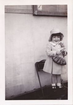 Vintage Photo Happy Small Girl Bonnet Purse 1940s