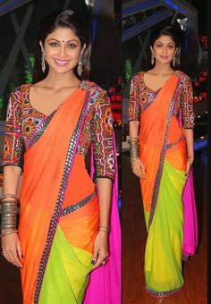 The day the sari turned day-glo... Manish Malhotra Designer Saree 2014