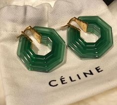 Or better say . I want everything from Celine! Celine Earrings, Jade Earrings, Statement Earrings, Hoop Earrings, Jewelry Accessories, Fashion Accessories, Jewelry Design, Women Jewelry, Vintage Accessories