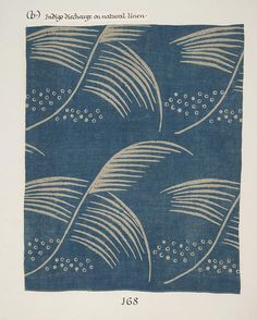 "Detail, ""Small Feather"" curtain,1932. Hand block print on heavy linen. By Phyllis Barron (1890-1964) and Dorothy Larcher (1884-1962), Girton College, Cambridge."