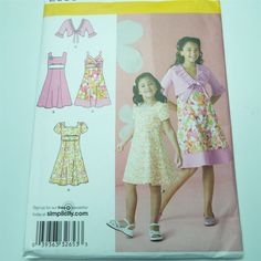 Girl Dress Shrug Bodice Neckline Variation Jacket Simplicity 2683 Sewing Pattern #SimplicityNewLook
