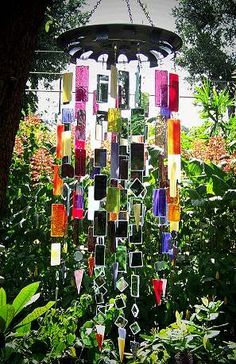 upcycled stained glass windchimes