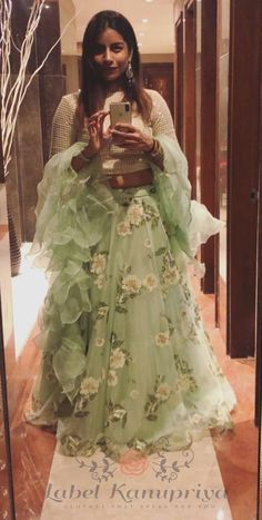 Client In Green Organza Lehenga with Ruffle Dupatta - Designer Dresses Couture Designer Party Wear Dresses, Indian Designer Outfits, Designer Wear, Organza Saree, Organza Dress, Lehenga Designs, Wedding Dresses For Girls, Girls Dresses, Indian Dresses