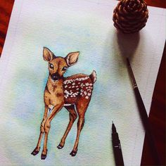 Fawn illustration in watercolour and fine liner ink pen Part of a woodland animal series available soon in my Etsy
