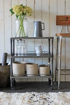 Still not quite right but it is a cool trolley - would have to have some metal or else to heavy. Industrial Kitchen Trolley - Brought to you by LG Studio Farmhouse Side Table, Farmhouse Kitchen Decor, Kitchen Dining, Kitchen Craft, Dining Area, Kitchen Trolley, Bar Trolley, Kitchen Cabinet Storage, Buying A New Home