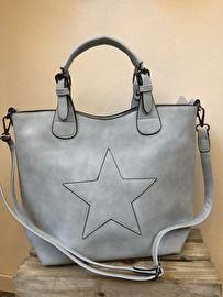 Hand / schoudertas met ster Bag in bag Blauw