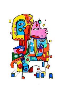 Pylokraten VII von Etelka Kovacs-Koller - mad for art auf DaWanda.com Shops, Illustration, Artworks, Mad, Etsy, Drawing S, Tents, Retail, Illustrations