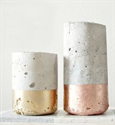 DIY concrete and copper vases.