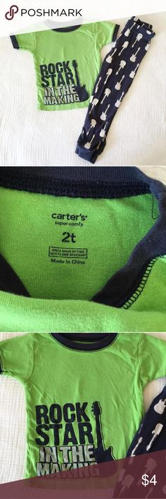 Carters Rockstar Pajamas 2t Green and navy pjs with guitars and rockstar theme. Worn but still in good condition. Size 2t Carters Shirts & Tops