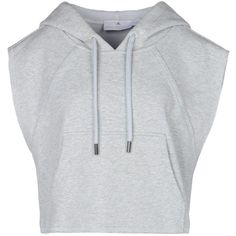 Stella McCartney Pearl Grey Yoga Crop Hoodie ($90) ❤ liked on Polyvore featuring tops, shirts, crop tops, hoodies, concrete and adidas