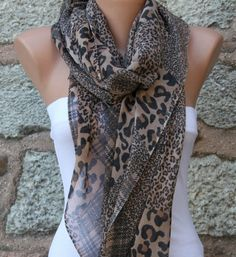 Leopard  Scarf   Headband Necklace Pareo by fatwoman on Etsy, $19.00