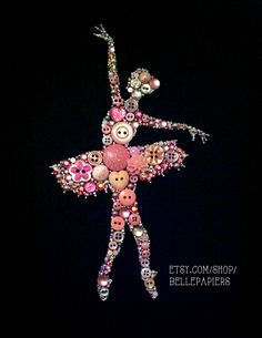 Button Art ballerina Couldn't pin from original site - knöpfe - unique crafts Ballet Crafts, Dance Crafts, Diy Buttons, Vintage Buttons, Diy And Crafts, Crafts For Kids, Arts And Crafts, Jewelry Crafts, Jewelry Art