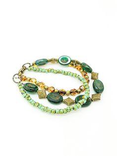 Green boho bracelet//green Bohemia bracelet//picasso jasper bracelet//three row bracelet//boho jewelery//green bohemian bracelet Amazing green boho bracelet made with Czech Glass beads, jasper Picasso