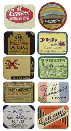 Typography / vintage condom packaging. yeah you read that right.
