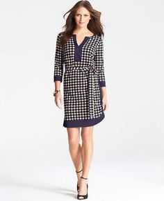 Blocked Dot Print Shirtdress