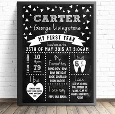 Monochrome Birthday Board - DIGITAL FILE - Personalised Monochrome Chalkboard Birthday Sign for a Monochrome first birthday party.  Click here for details on website and for more matching party printables from Print & Party. #monochromekids #firstbirthday #boysfirstbirthday
