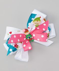 Look at this White & Pink Elf Bow Clip on #zulily today!