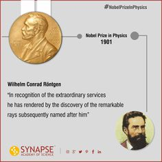 #NobelPrizeInPhysics #1901 - Wilhelm Conrad Rontgen An German/Dutch mechanical engineer and physicist, who, on 8 November 1895, produced and detected electromagnetic radiation in a wavelength range known as X-rays or Röntgen rays. #Synapseeducare #Academyofscience