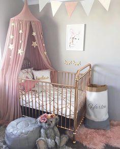 New personalised metallic cushion from @luvi_shell and storage sack from @prettytidy_roshnee 💕 _ #nursery #girlsnursery #girlroom #babygirl…