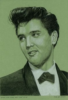 Elvis in Charcoal drawing number 12 for 2015. Assignment from an Elvis fan in the USA. It turned out well even though the reference photo was unsharp smile-emoticon  When the King met the Voice Charcoal and White chalk on colored paper, 15 x 21 cm. www.elvis-art.com