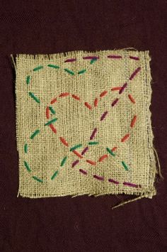 This made-for-kids embroidery project uses thick yarn, dull needles, and burlap fabric with wide holes so it's perfect for little fingers!