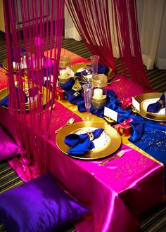 I'm doing a moroccan party for my daughter's birthday this year.  This is great inspiration.  Love the colors.
