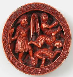 Game Piece with Samson Slaying the Philistines with the Jawbone of an Ass, 1140-1150, Elephant ivory, red stain, 2 1/2 x 1/2 in (6.3x1.3cm)